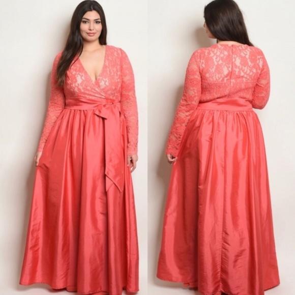 Ladies Plus Size Lace Taffeta Coral Dress Gown Boutique
